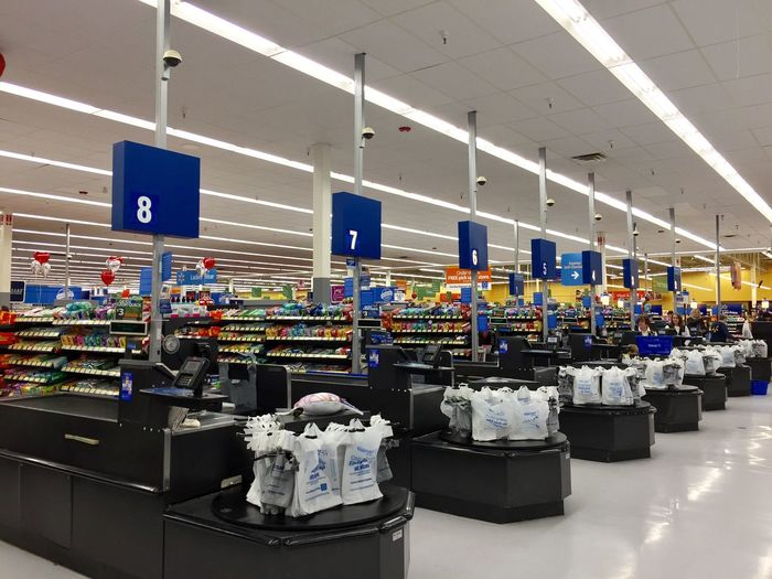 Walmart supermarket shopping store super store American cashier checkout