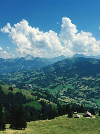 Landscape Tranquil Scene Tranquility Scenics Mountain Sky Cloud - Sky Beauty In Nature Rural Scene Non-urban Scene Agriculture Nature Mountain Range Green Color Farm Day Growth Outdoors Cultivated Land Majestic Swissgirl Switzerland Gstaad