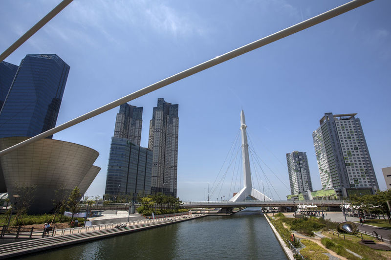 River Against Tall Buildings