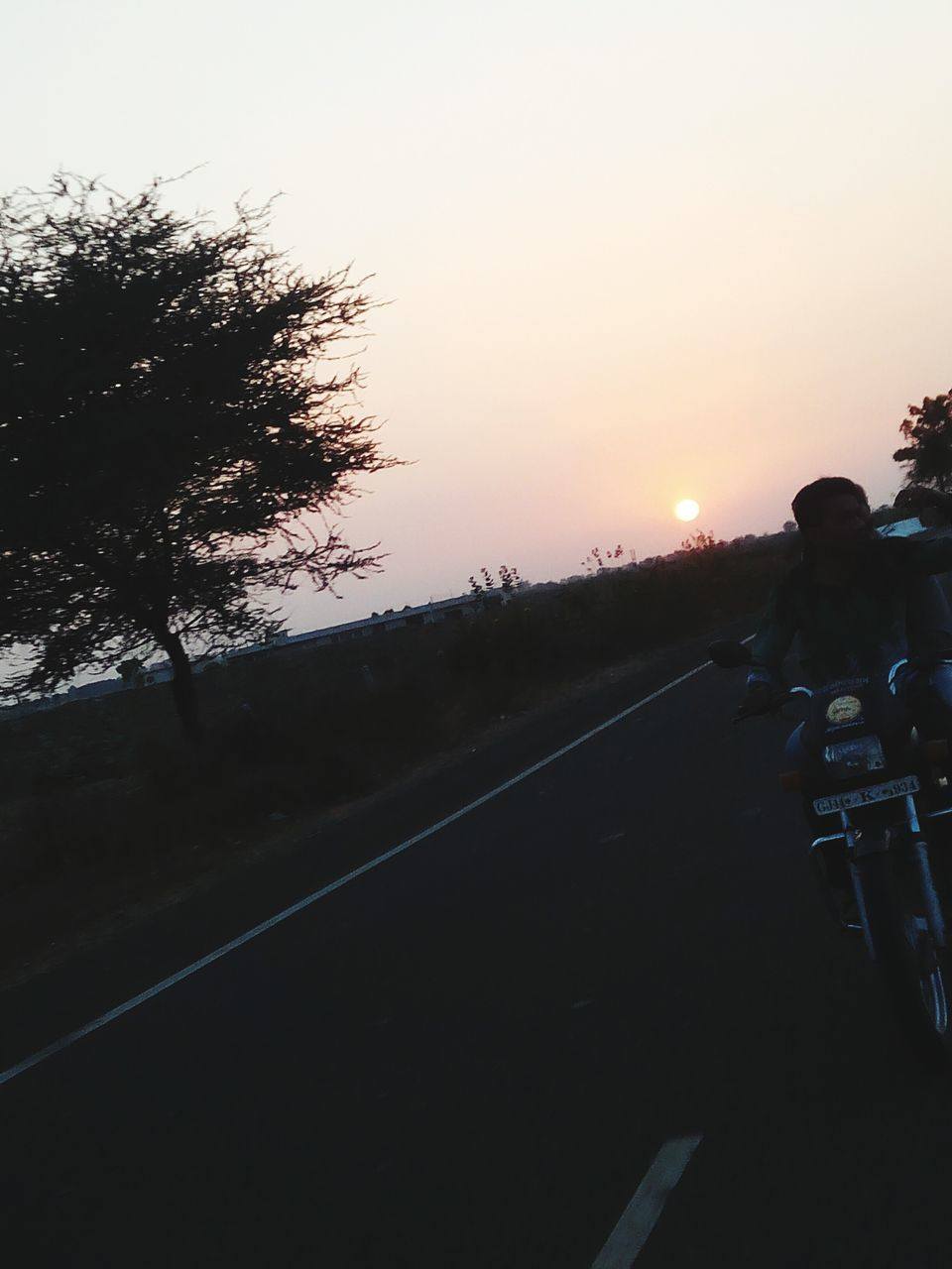 sunset, transportation, tree, road, nature, the way forward, real people, riding, bicycle, land vehicle, scenics, silhouette, outdoors, sky, landscape, men, two people, beauty in nature, day, people