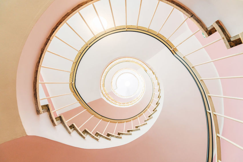 Architecture Built Structure Geometric Shape Indoors  No People Railing Spiral Staircase Steps Steps And Staircases