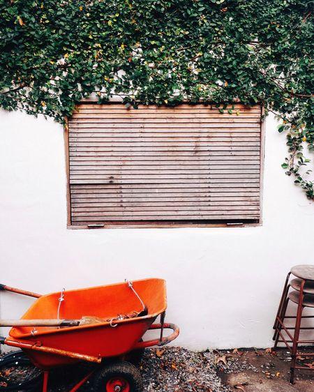 Orange wheelbarrow against wall