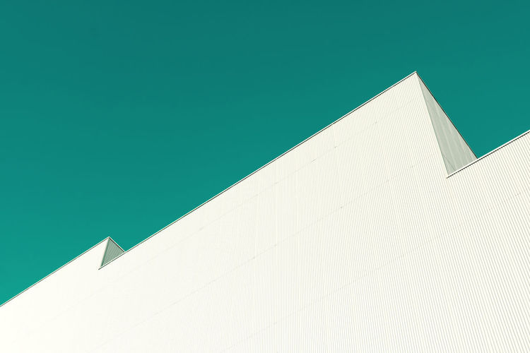 Architecture Building Exterior Built Structure White Color No People Building Copy Space Low Angle View Sunlight Day Nature Clear Sky Sky Wall - Building Feature Outdoors Pattern White Blue Modern Shape Turquoise Colored