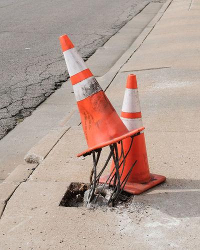Traffic Cones On Sidewalk In City