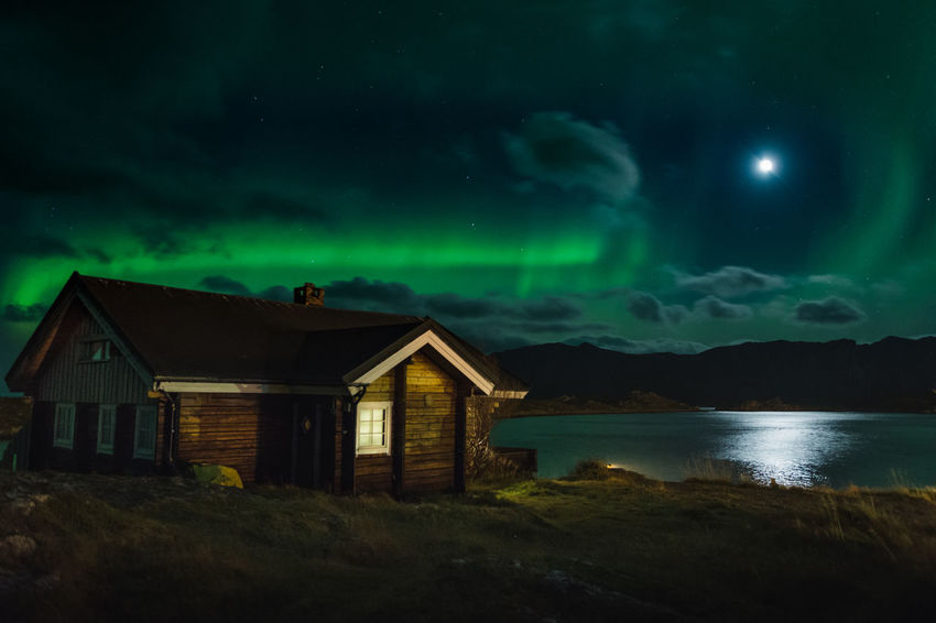 A remote little house in the most northern part of continental Europe, North Cape (Nordkapp). Houses Moon Architecture Astronomy Aurora Polaris Beauty In Nature Building Exterior Built Structure Cloud - Sky House Illuminated Lightning Moon Nature Night No People Outdoors Remote Scenics Sea Sky Star - Space Tranquil Scene Tranquility Water EyeEmNewHere