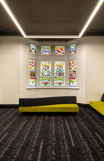 Architecture Geometry Indoors  Modern Multi Colored Stained Glass