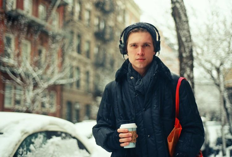 Casual Clothing Coffee To Go Cold Temperature Lifestyles Listening To Music Portrait Warm Clothing Winter Winter Young Adult Snow Nikon FE 35mm Film