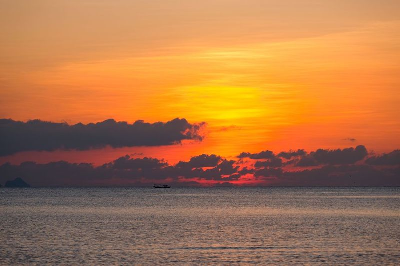 Sunset Beauty In Nature Sky Scenics - Nature Orange Color Tranquil Scene Tranquility Land No People Water Idyllic Nature Sea Cloud - Sky Non-urban Scene Outdoors Romantic Sky Landscape Red Waterfront