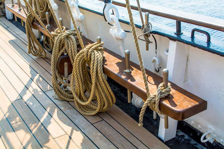 Arrangement Coast Day Deck Empty Group Of Objects Lines Nautical Nautical Vessel No People Ocean Outdoors Rope Ropes Sailing Ship Sea Shadow Ship Steel Sunny Day Tall Ship Tall Ships Race Water Wood - Material Wooden