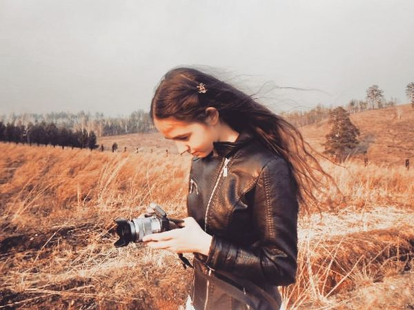 One Person Nature People Redhead Only Women Autumn Outdoors Adult Rural Scene Casual Clothing Meadow One Woman Only Adults Only Landscape Holding Concentration Grass Leisure Activity Relaxation One Young Woman Only