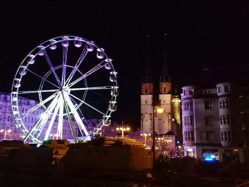 Night Arts Culture And Entertainment Built Structure Building Exterior Sky Outdoors Illuminated Architecture City No People Ferris Wheel Cityscape