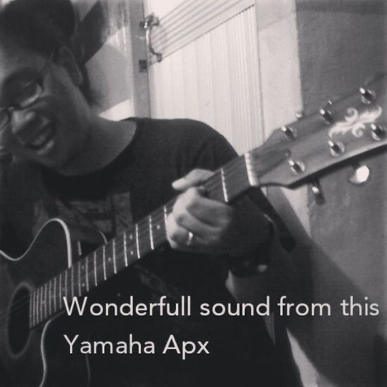 I found this last night when family fellowship service... this pretty guitar Yamaha Apx made from Australia.. hope i have one of this someday haha... Yamahahuitar Guitar Accousticguitar Yamahaapx