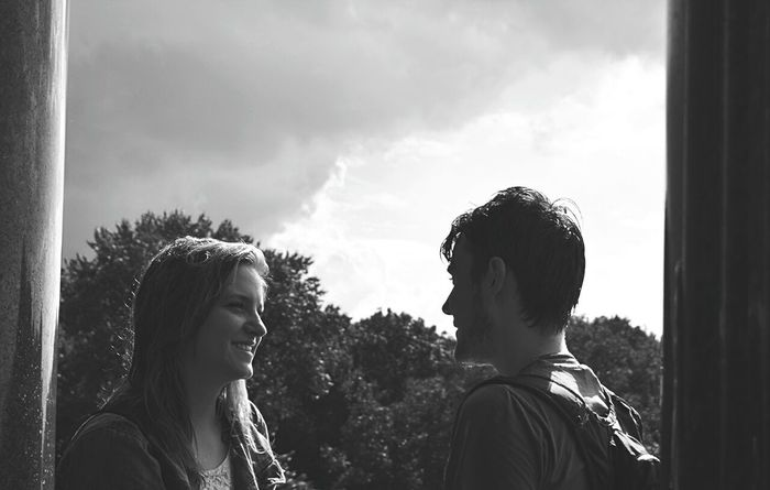 Two People Togetherness Face To Face Friendship Person Day Cloud - Sky Outdoors Horizontal People Adult Sky Young Adult Love Berlin Tiergarten Life Is Beautiful City Life Horizontal Urban Skyline City Break Travel Destinations City Warm Clothing Happiness