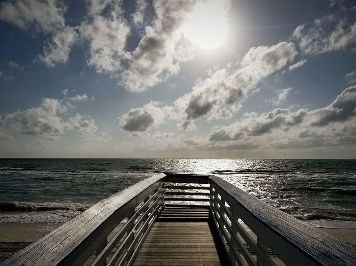 Sea Horizon Over Water Water Cloud - Sky Beach Sun Sunlight Pier Sky Wood - Material Scenics Outdoors Day Naples, FL Travel Destinations Nature Beauty In Nature