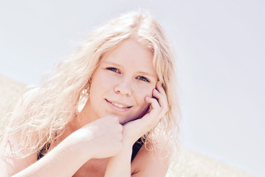 Beautiful Woman Beauty Blond Hair Close-up Day Front View Happiness Headshot Indoors  Lifestyles Long Hair Looking At Camera One Person Outdoor Photography People Portrait Real People Shoot Smiling Summer Weekend Weekend Activities White Background Young Adult Young Women