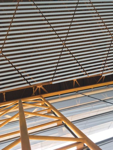 Architectural Design Architectural Feature Architecture Beijing Airport Built Structure Ceiling Close-up Day Full Frame Iron - Metal Low Angle View Modern No People Roof Roof Beam Summer