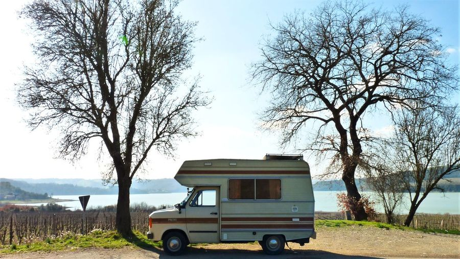 80's Campervan Adventure Italy Umbria, Italy Lake Perspective Me Time ♥ Love Yourself Tree Transportation Land Vehicle Nature Sky People Motor Home Day Outdoors