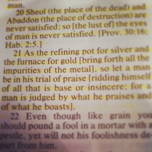 Verse 21...we are judged by what we praise... AmplifiedBible