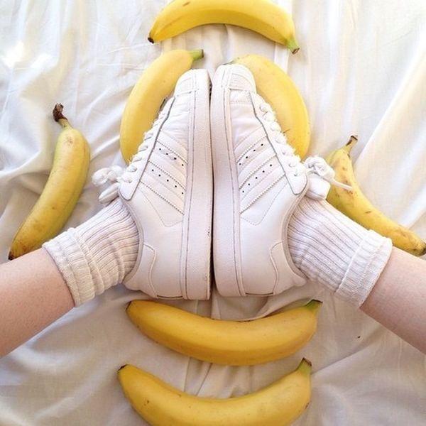 Tumblr Tumblrgirl Adidas Banana Banane Jaune Supercolor Superstar Blanche