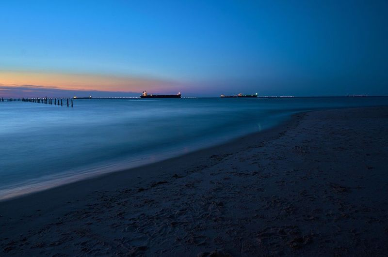 Ships at rest Ships Boats Sunset Ocean Long Exposure