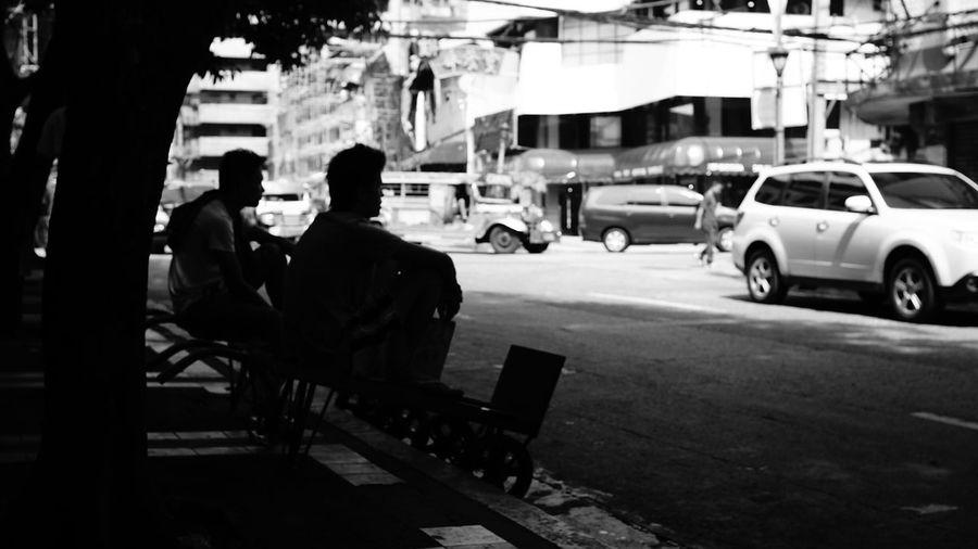 Woman on city street