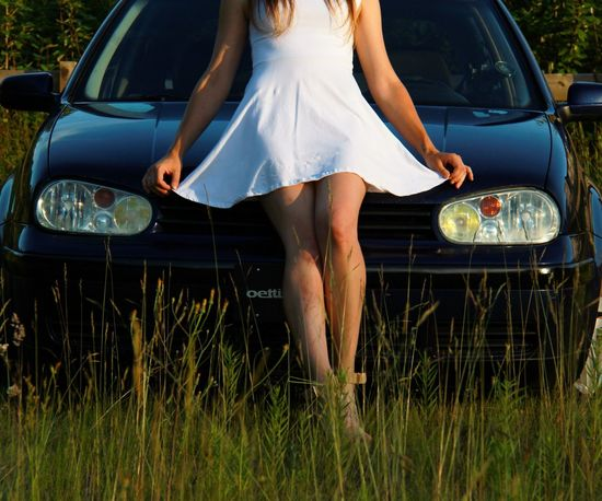 Car Transportation Land Vehicle Mode Of Transport Outdoors One Person Day One Woman Only One Young Woman Only Low Section Grass People Young Adult Flower Adult Nature Adults Only Carmodel Slammedsociety Mk4
