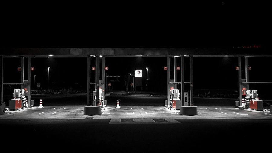Basement Empty Fuel Pump Gas Station Gasoline Illuminated Night No People Outdoors Parking Garage Parking Lot Refueling Transportation
