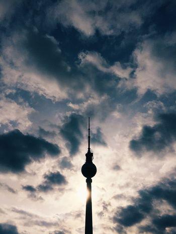 Fernsehturm Berlin Sky Sun Clouds Spring Sunset Sunshine TV Tower Silhouette