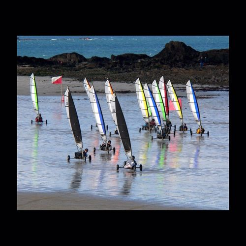 Char à voile à Saint-Malo — France — Sand Yachting Char à Voile Sand Sea Beach Water Water Reflections
