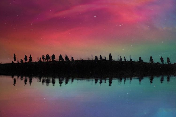 Reflection Sky Nature Night Lake Outdoors Scenics Silhouette Water Astronomy Beauty In Nature Star - Space Galaxy Space No People Nature Landscape Traveling Travel Winter Clouds And Sky Trees Colorful Sunset Tranquil Scene