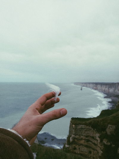 Cropped hand holding feather against sea