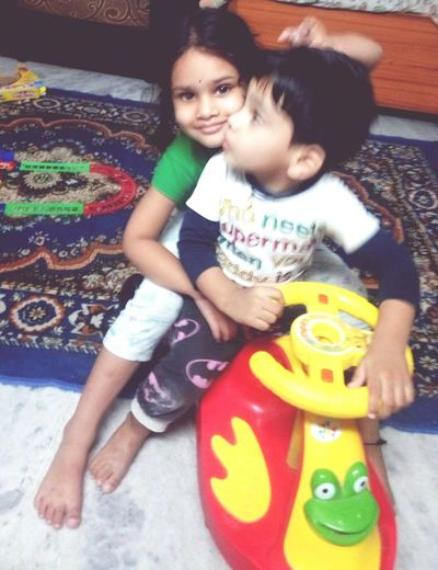 Children Playing Togetherness Full Length Indoors  Domestic Life Lifestyles Sister And Brother Love ♡ EyeEmNewHere