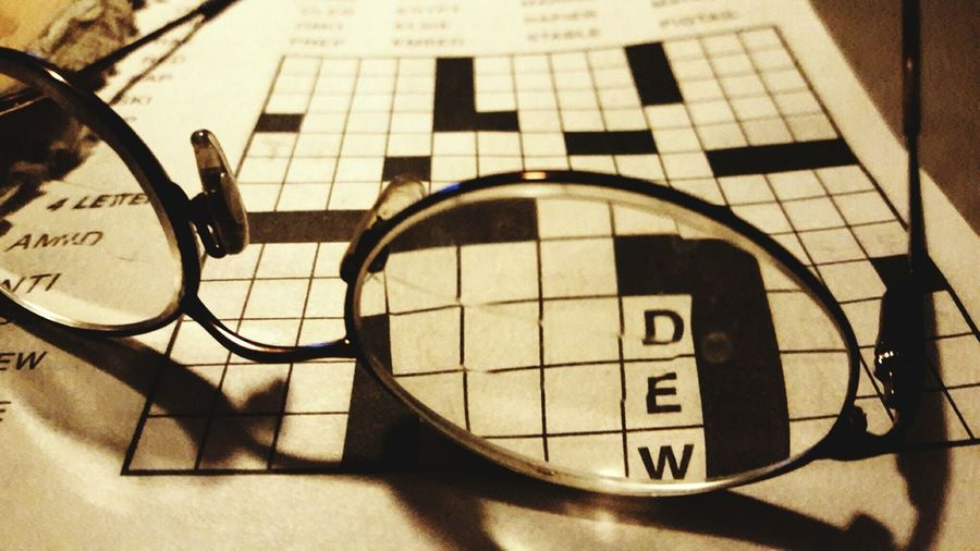 Crosswordpuzzle Through Paper Pages Printing On Page Relaxing Abstract Still Life Relaxing