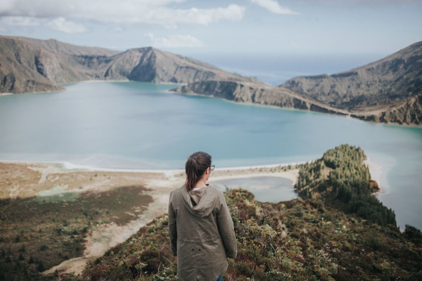 Adult Adults Only Azores Beach Beauty In Nature Day Hiking Lagoa Do Fogo Lagoon Landscape Mountain Nature One Person One Woman Only Only Women People Rear View Scenics Sea Sky Tranquility Travel Destinations Water Week On Eyeem Young Adult Lost In The Landscape Go Higher