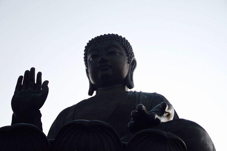 Big Buddha Buddha Buddha Statue Buddhism Clear Sky Day Hong Kong HongKong Human Representation Low Angle View Male Likeness No People Outdoors Religion Sculpture Sky Spirituality Spirituality Statue Travel Destinations Spirituality Statue Place Of Worship Representation