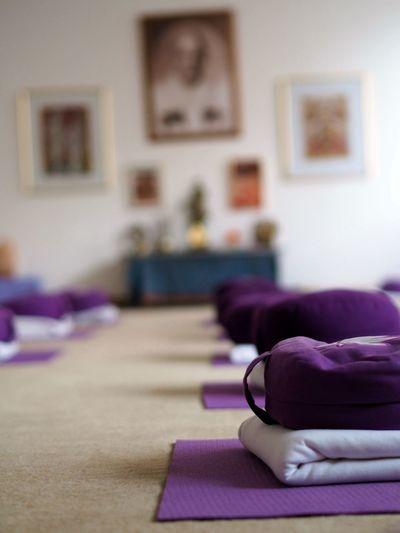Equipment on carpet at yoga studio