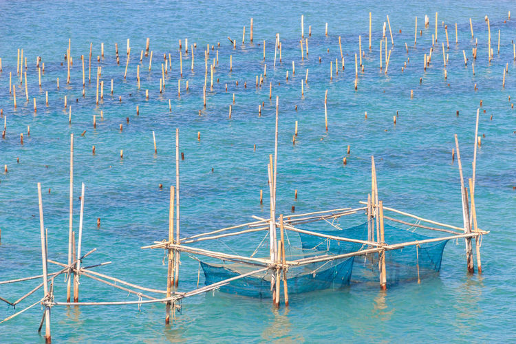 High angle view of fishing net in sea