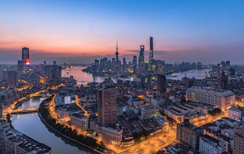 High angle panoramic shanghai cityscape at dusk
