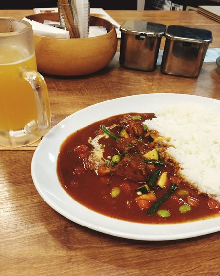 Japanese Curry Mango Beer Eating Alone