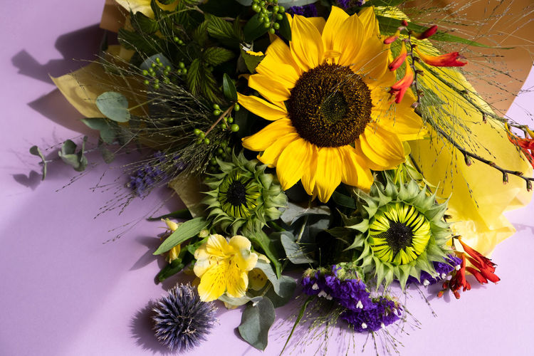 High angle view of sunflowers on table