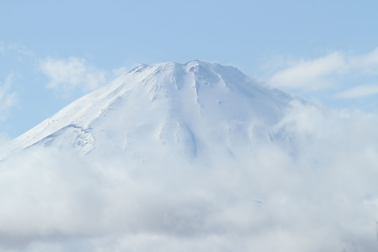 Scenic View Of Snowcapped Mt Fuji Against Sky