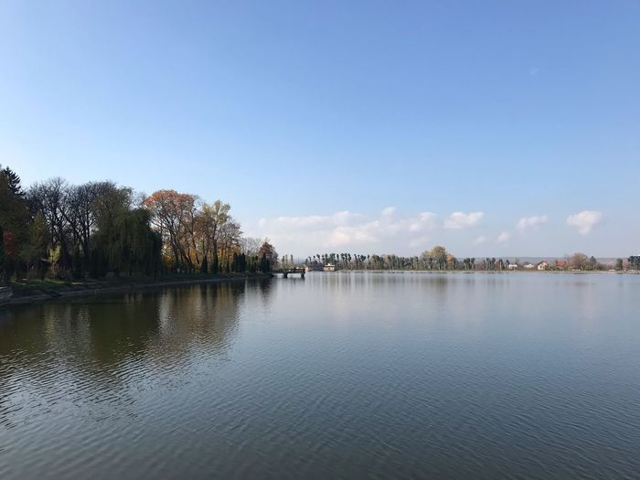 Autumn in the Ukraine Ivano-frankivsk Ukraine Sky Water Tree Tranquility Scenics - Nature Tranquil Scene Waterfront No People Idyllic Lake Outdoors Day Clear Sky Beauty In Nature Reflection