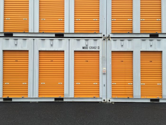 Closed doors at warehouse loading dock