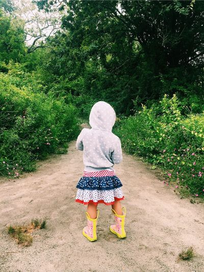 Rain Gear Rear View Children Only Outdoors Nature Childhood One Girl Only