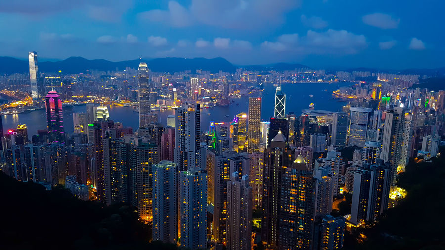 Victoria Peak 山頂, Hong Kong 香港 Architecture Business City Cityscape Finance Finance And Economy Harbor Hong Kong Landscape Modern Mountain Mountain Peak Night Office Outdoors Panoramic Sky Skyscraper Tourism Tower Travel Urban Skyline Victoria Peak 山頂 香港