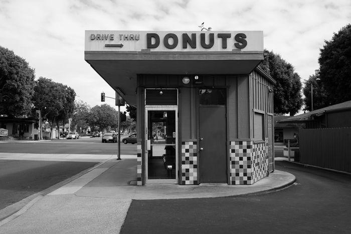 Donuts. LEICA Q Digital B&w Donuts Drive Thru
