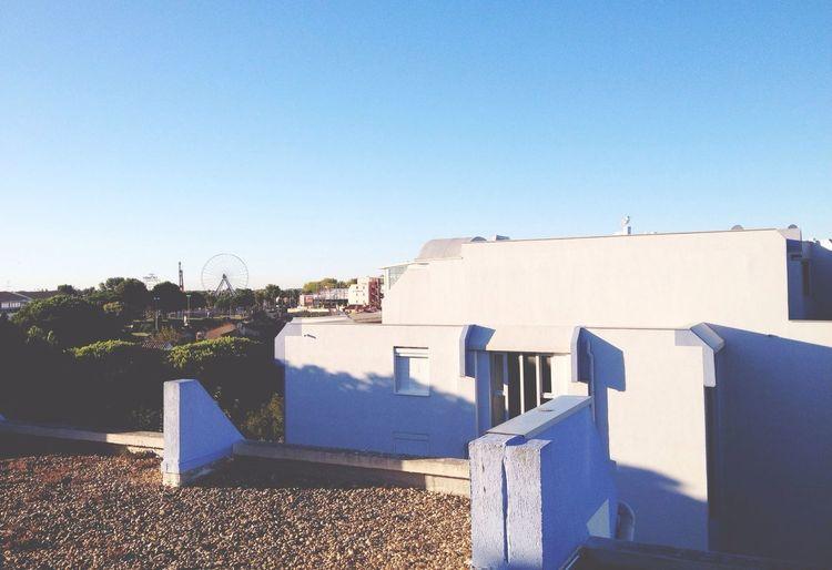 House facade against clear blue sky