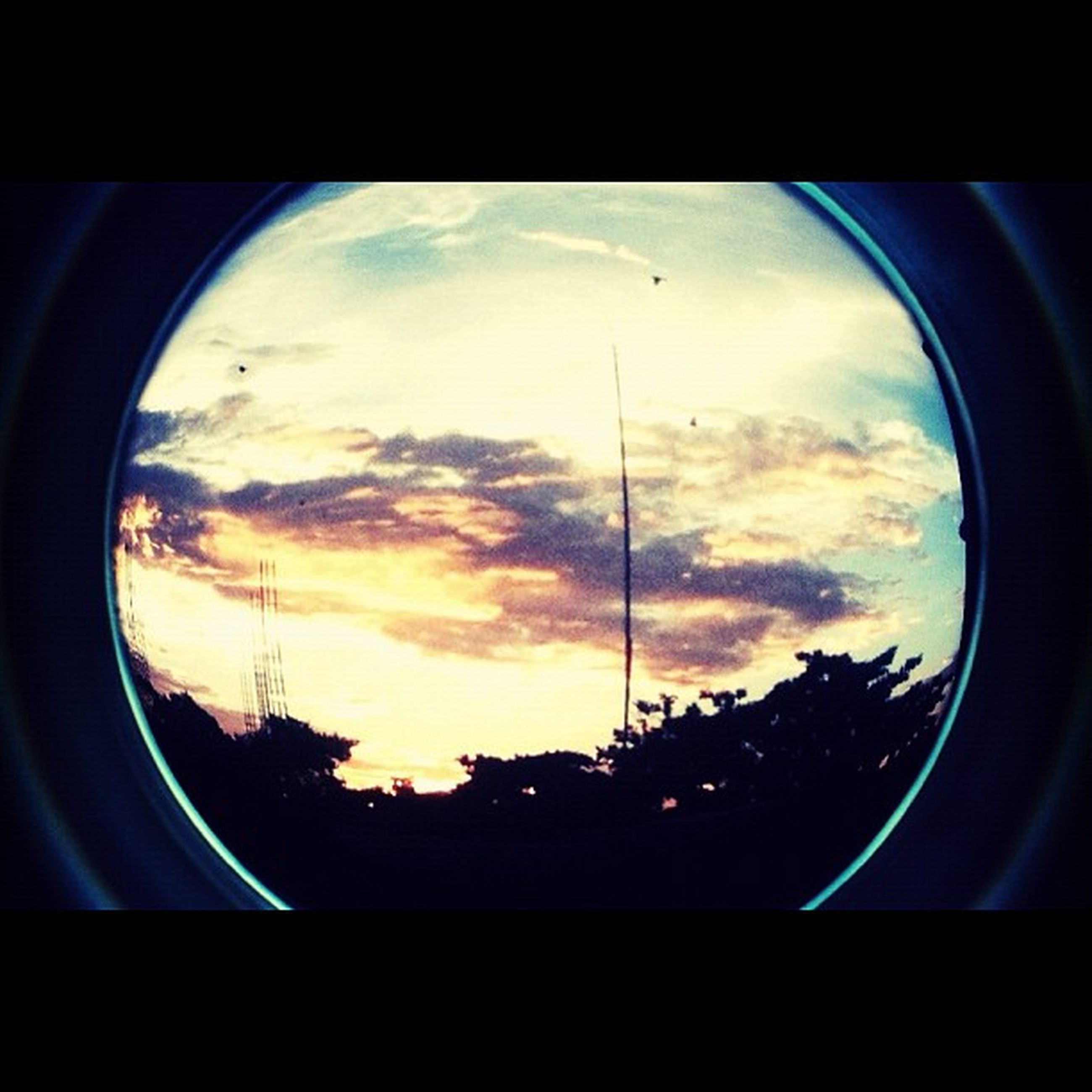 sky, silhouette, window, cloud - sky, transparent, glass - material, tree, indoors, sunset, cloud, low angle view, cloudy, transportation, built structure, fish-eye lens, no people, nature, car, architecture, dusk