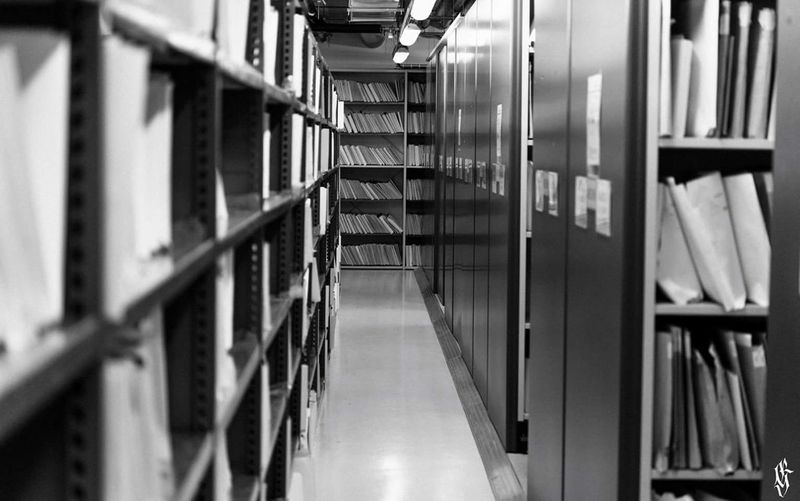 View of books in library