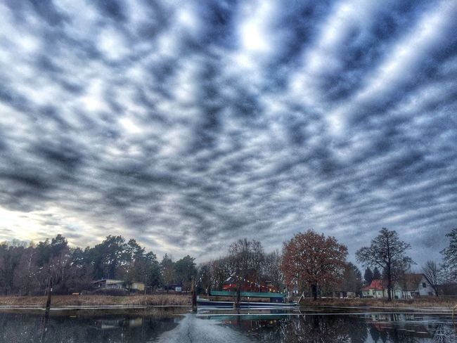 Boat River Pond Sky Sky And Clouds Skyporn Clouds And Sky Cloudporn Clouds HDR Hdr Edit Iphone6 IPhoneography Iphonephotography IPhone Taking Photos 2016 Nature Water Reflections Snapseed Winter Trees Ice Waterfront Water